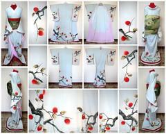 Amagaki - Early Showa Period Geiko's Hikizuri (Kurokami) Tags: blue ladies girls woman toronto ontario canada tree girl japan lady asian japanese women asia sweet traditional maiko geiko geisha kimono persimmon kitsuke houmongi hikizuri susohiki amagaki