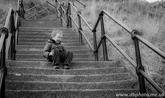 Half way up the stairs (DarrelBirkett) Tags: beach nikon josh tynemouth whitleybay d600 monoblackandwhite dbphoto