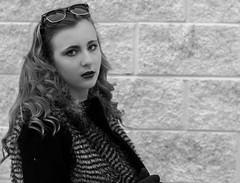 monroe again? (Kacey_Oesterreich) Tags: red sun hot silly cute brick wall marilyn hair fur glasses necklace girlfriend pretty coat cutie lips curly blonde monroe