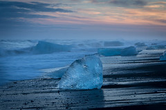 "Ice on Jökulsárlón Beach at Sunset • <a style=""font-size:0.8em;"" href=""https://www.flickr.com/photos/21540187@N07/12932661205/"" target=""_blank"">View on Flickr</a>"