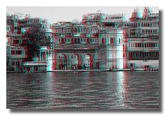 Udaipur IND - Lal Ghat Lake Pichola 3D Anaglyph