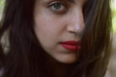 Bloodline (Pharheen) Tags: red portrait india girl closeup hair eyes eyecontact shoot lips