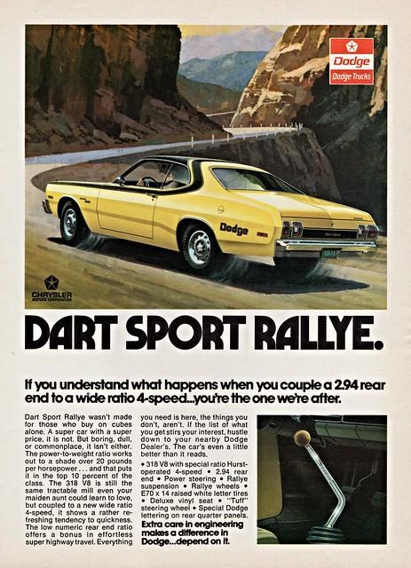 sport 1974 ad dodge dart rallye