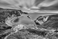 Man Of War Cove Long Exposure - Dorset (Christopher Pope Photography) Tags: 2014 manofwarcove beach blackwhite cliff cliffs clouds coast dorset gallery jurassiccoast longexposure nikon nikond610 purbecks sand seascape waves web