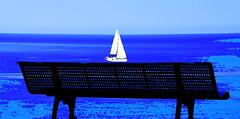 Une visite (Jean-Luc Lopoldi) Tags: sea mer bench horizon peinture banc mditerrane sailingboat bateauvoiles