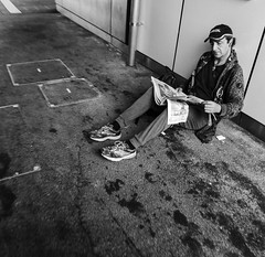 Reader on the platform (The world's a stage,And everyone truly performer) Tags: street leica reader homeless platform melbourne