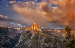 The Last Light (SandyK29) Tags: california pink blue sunset tree nature beauty pinetree clouds landscape spring glow shadows view stormy explore yosemite halfdome sierras glacierpoint stormclouds easternsierras cloudysunset beautyinnature explored nikond800 sunsetglowonhalfdome