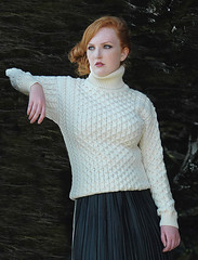 Redhead Lady in aran wool turtleneck (Mytwist) Tags: woman wool sweater warm sweet traditional style merino redhead turtleneck timeless pullover authentic sweatergirl knitwear rollneck woolfetish