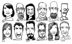 Dozen (Don Moyer) Tags: moleskine face ink notebook grid faces drawing moyer brushpen donmoyer