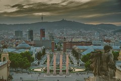 Barcelona (CROMEO) Tags: barcelona plaza city sunset sky espaa monument museum clouds photography lights photo amazing spain europa long exposure view place bcn arts line cr catalua ue espanya cromeo
