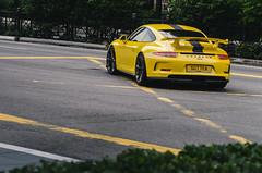 Porsche 911 GT3 (McManF1) Tags: auto road sports car yellow marriott singapore 911 stripe orchard racing german porsche gt3 ns22