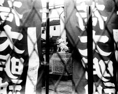(stage wing) (Dinasty_Oomae) Tags: blackandwhite bw monochrome blackwhite kodak outdoor flag chiba retinette komainu funabashi  pennant