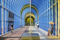 - bridge - (Jacqueline ter Haar) Tags: bridge light colors station bicycle afternoon clarity pedestrian explore zoetermeer brug friday fietsers voetgangers nelsonmandelabrug