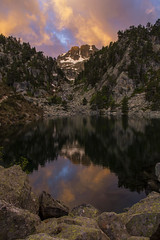 Sunrise in the Pyrenees (Mark Willemse) Tags: lake mountains reflection clouds sunrise pyrenees