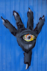 Hands on Berlin ciTTi graFiTTI 2016 (Marco Braun) Tags: streetart berlin eye graffiti colourful blau coloured auge farbig bunt 2016 handmain blueblau