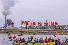 water is sacred banner best 27159177935_fc68f67af0_o (Backbone Campaign) Tags: water justice washington energy kayak break action politics protest creative paddle shell free social demonstration oil change wa environment activism anacortes campaign pnw refinery climatechange climate tesoro artful backbone renewable refineries 2016 kayaktivist kayaktivism breakfreepnw