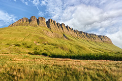 Benbulben Mountain - County Sligo - Ireland (Gareth Wray - 8.5 Million Views -Thank You) Tags: gortarowey monument valley benbulben ben bulben county sligo mountain hill cliff landscape scape donegal ireland irish rocks award nature natural horizon tourist site scenic summer visit nikon d810 gareth wray photography strabane hdfox hd fox blue sky nikkor 1424mm lens sun colourful ray photographer hills mountains walk heather moors reeds trees plants big stack yellow flowers bushes table top dartry glencar benbulbin grange clear day vacation holiday europe bulbin tree bog marsh outdoor