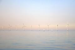 Pastels, wind turbines and boats (Louise Staalsen) Tags: ocean summer beach water boat sailing sail turbine windturbine windpower renewableenergy renewables
