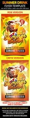 Summer Drink Flyer Template  (Clubs & Parties) (hypesol) Tags: light party summer sun beach water fruits glitter modern club poster disco lemon flyer sand nightclub palmtrees cocktail event entertainment fantasy alcohol electro lime splash beachparty summerparty flyermania summercocktail