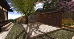 Moonlight Teahouse Zen Garden (Gaea Oakleaf) Tags: japanese teahouse moonlight cherryblossom bamboo koi pond garden zen tranquil