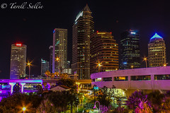 Tampa from the convention center. June 2016 (tarell_sallie) Tags: camera blue trees red copyright usa white building nature colors beautiful june yellow skyline america skyscraper canon buildings river tampa landscape lights nice cityscape nightscape purple unitedstates artistic tampabay florida gorgeous south palmtrees artsy highrise bankofamerica stunning northamerica thesouth wellsfargo catchy riverwalk sykes bbt hillsborough nightexposure pnc slowexposure regions suntrust 2016 cartrails hillsboroughcounty visitflorida canont3i