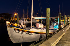 Sponge Boat, Tarpon Springs, Florida (DawnaMoorePhotography) Tags: travel usa history gulfofmexico night dark boats greek photography evening boat us photo twilight lowlight unitedstates image florida dusk picture historic photograph destination bluehour atnight tarpon spongedocks tarponsprings afterdark fishingvillage gulfcoast spongeboat greekcommunity dawnamoorephotography dawnamoorephotographycom