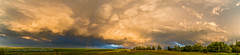 Storm Cloudscape at Sunset (Amazing Sky Photography) Tags: sunset field clouds rainbow farm alberta thunderstorm prairie lowsun tstorm anticrepuscularrays cloudshadows mammatiform