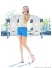 Emma - Worlds Apart (jfinite) Tags: blue summer beauty fashion backlight model legs environmental portraiture heels shorts sheer