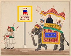 Trump Triumphant in Cleveland, after an 1885 Varanasi painting (Mike Licht, NotionsCapital.com) Tags: art cleveland politics satire elephants donaldtrump trump gop republicans anachronism barbiedoll indianart barbiedolls melaniatrump howdahs varanasiwatercolours