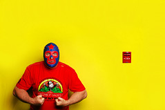 The Masked Superstar at the Dick Cheney Urological Metroplex (Studio d'Xavier) Tags: yellow luchador luchalibre 365 primarycolours werehere 164366 themaskedsuperstar june122016