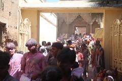 "Devotees throng outside the ""Nidhivan"" Temple, at Vrindavan (ilovethirdplanet) Tags: india festival temple crowd holi mathura ind uttarpradesh"