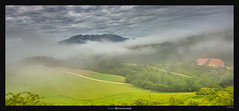 Valley in the Mist (Ilan Shacham) Tags: panorama house mist mountains alps green fog clouds landscape austria view farm pano fineart scenic hills slovenia valley fineartphotography