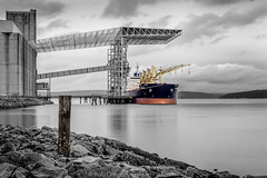 Graon-Ship-6-18-16-BW-color (Rob Green - SmokingPit.com) Tags: old city school red 2 bw white black color building brick green art beach architecture port canon lens bay town washington artwork rocks day ship pacific northwest cloudy mark south grain wide shoreline rocky overcast vessel down center rob ii shore maritime sound 7d wa tacoma commencement splash elevators ultra f28 saltwater selective 10mm rokinon pugt
