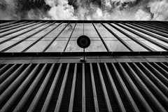 Day out in the City Mixed Subjects-29 (Philip Gillespie) Tags: edinburgh scotland architecture mono monochrome black white canon camera abstract up outside clouds dull dark moody windows office glass steel stone june 2016 tectures patterns lines