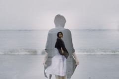 don't look back () Tags: sea portrait canada beach vancouver alone sad doubleexposure tofino depressed canon5d lonely amethyst departure