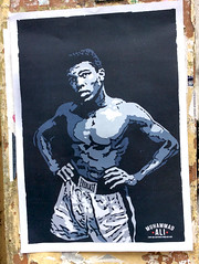 Muhammad Ali Poster (seven_resist) Tags: portrait usa black berlin art kreuzberg poster rebel store movement artist graphic side ali shirts 1968 boxing tshirts disorder left panther vector plakate plakat muhammad antiracist grafic linke 68er
