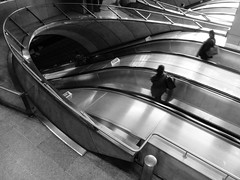 Alepotrypa (Douguerreotype) Tags: city uk 2 england people urban blackandwhite bw london monochrome silhouette underground subway mono metro britain escalator tube gb british