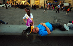 *** (Boris Rozenberg) Tags: streetphotography street streetphoto man sleep sleepinman sleeping parent girl situation moment sigma1020 sigma sigmalens nikon digital snapshot snap italy florence trip journey daughter child kid life daily emotion