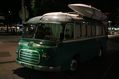 Old beauty at night (unnamedcrewmember) Tags: old city bus green night germany boat hannover canoe hauptbahnhof camper kanu mainstation wohnmobil s6 setra reisebus kssbohrer schillerstrase