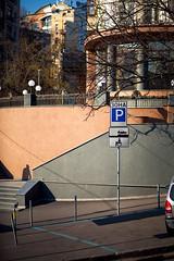 Sign and shadow (grocap) Tags: street city light shadow urban colour lines car sign composition streetphotography ukraine kiev kyiv