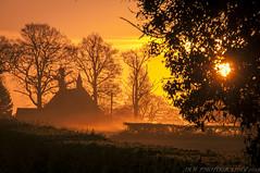 Golden Mist (JRT ) Tags: trees sun mist church misty sunrise golden early nikon hedge bankholiday d300s jrwphotography johnwarwood