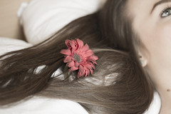 rose (Colleen Cassidy Photography) Tags: red flower floral girl rose canon hair relax photography 50mm scotland bed model long photographer photoshoot glasgow blueeyes longhair relaxing calming calm lazy tired simplicity daisy brunette simple modelling lyingdown canon600d