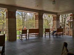 Turkey Run State Park veranda (SteveMather) Tags: park county turkey inn state indiana run marshall veranda artnouveau april artdeco mather rockville 4s parke iphone in cubism 2013