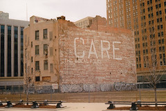 Something to care about (falseverdict) Tags: streetart building art abandoned film mi analog 35mm canon graffiti mural kodak ae1 michigan detroit program care canonae1 ektar motorcity 2013 kodakektar laurenpaljusaj