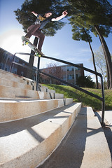 Noseslide at University Rail (RyanLebel) Tags: canada dan up by stairs campus one this corn nikon warm university top first rail right follow fisheye fredericton landing skate danny skateboard behind try middle 16mm section unb 3x noseslide alcorn triggered d700 sb28s cybersyncs whoisfreddy