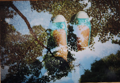 look up : look down (mel in japan) Tags: trees film spring kyoto shoes doubleexposure bluesky   holga135