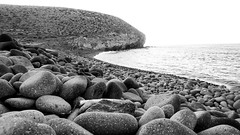 beach (Cheryl Jenks) Tags: bw beach spain pebble cabodegata