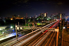 Sotetsu line, Yokohama (Arutemu) Tags: city railroad light japan night train canon asian japanese lights asia cityscape view nightscape ciudad trains nighttime citylights vista  yokohama  kanagawa  japonesa japon  japones ville japonais        japonaise