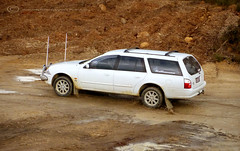 Skip, after a 3 inch suspension lift in the front (OffRoadFalcon's Photography) Tags: 2001 ford station clouds wagon puddle mud suspension au australia dirt falcon wa skip muddy westernaustralia futura stationwagon aerials busselton spotlights lifted vasse bullbar aufalcon auii