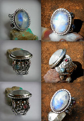 """Tianlong"" White Dragon Rainbow moonstone ,pale Blue Sapphire, Red garnet ,and Pink tourmaline set in Hand Forged sterling silver (leespicedragon) Tags: pink blue red white art silver rainbow dragon ooak chinese jewelry pale ring metalwork handcrafted sterling oval tourmaline sapphire garnet moonstone handforged tianlong cabochon repoussé marvinleebillings"